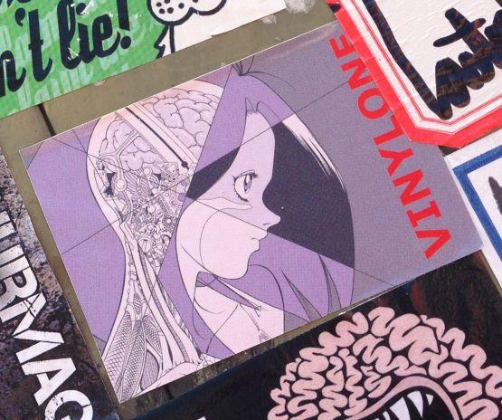 sticker vinylone Amsterdam North 2013 September woman robot metal skull