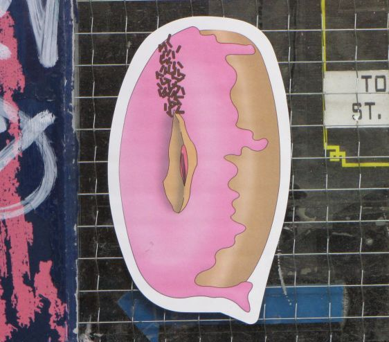 vagina sticker donut doughnut 2014 July Amsterdam center street-art funny