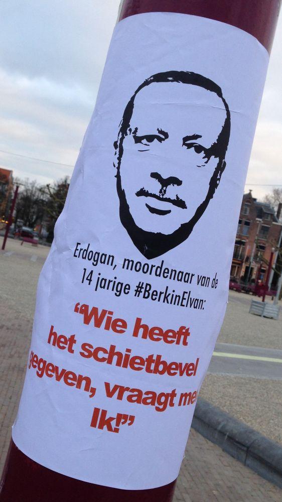 Erdogan poster Berkin Elvan 2014 March Amsterdam Museum-square #BerkinElvan