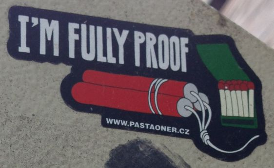 PastaOner sticker fully proof Amsterdam east 2014 April Dynamite bomb