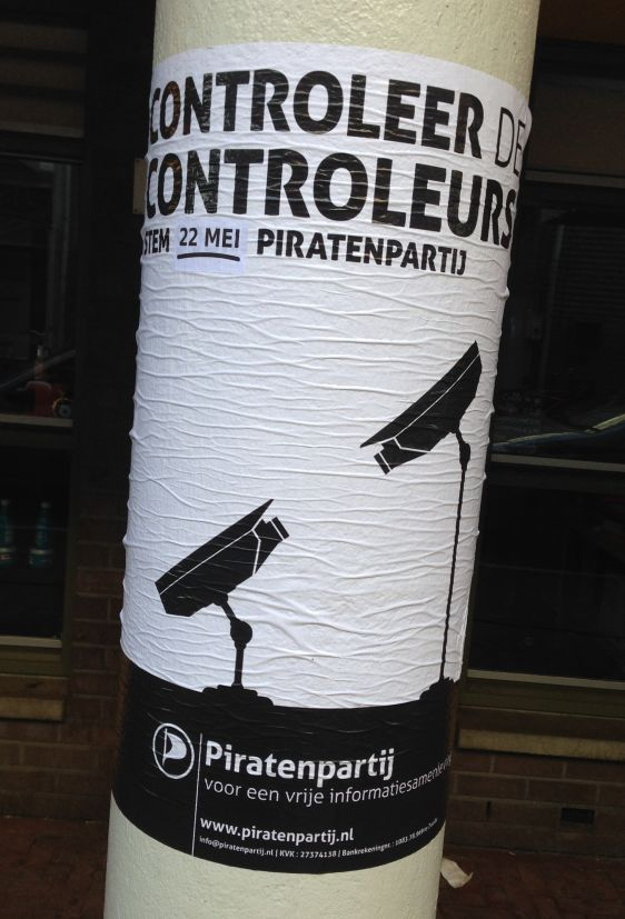 Pirantenpartij poster 2014 May Amsterdam center controleurs