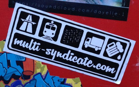 sticker Multi Syndicate 2014 January Amsterdam center beer tram truck