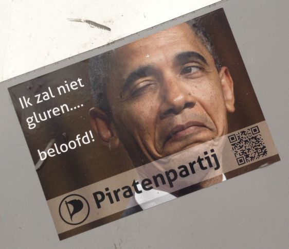 sticker Piratenpartij Obama gluren 2014 February Amsterdam center