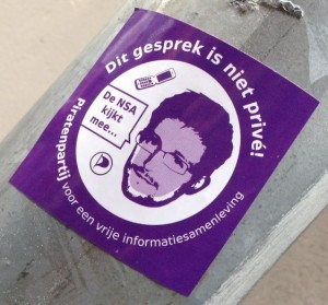 sticker Piratenpartij gesprek NSA Amsterdam center Spui 2014 March Snowden