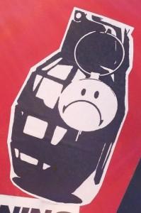 sticker grenade smiley Amsterdam center 2014 March weapon granaat
