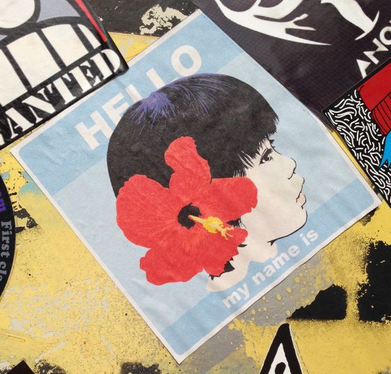 sticker woman flower hair Amsterdam NDSM 2014 March asian hello name