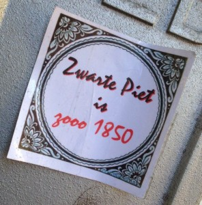 sticker zwarte Piet is zo 1850 Amsterdam December 2013