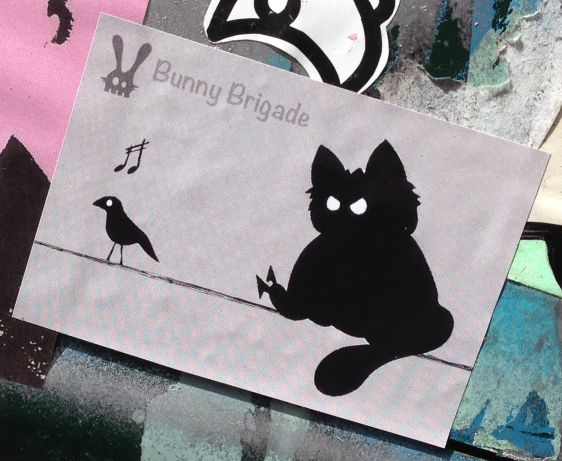 Bunny Brigade sticker black cat bird Amsterdam east 2014 April