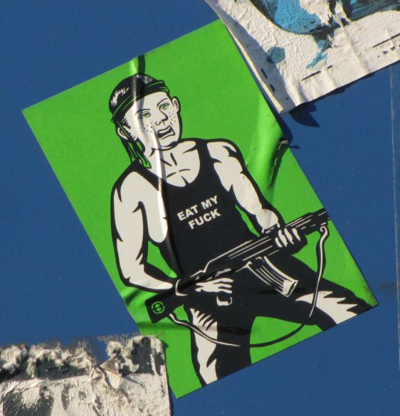 Eat my fuck sticker Errand Boy Philadelphia 2014 July machine-gun terror