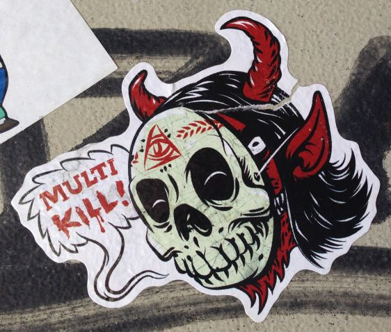 Multi-kill sticker devil mask Amsterdam east 2014 April illuminati