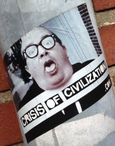 sticker Crisis of Civilization Amsterdam center 2014 April man glasses