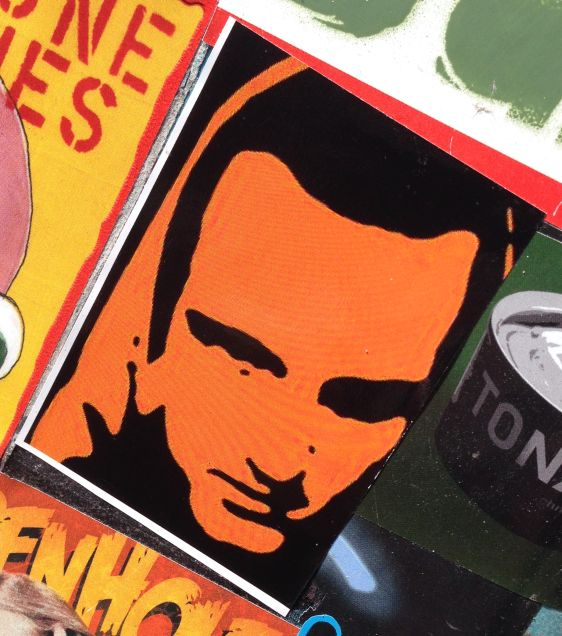 sticker Hoofdmoot Amsterdam east 2014 April man face orange black