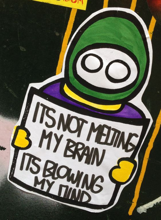 sticker LN not melting brain blowing mind Amsterdam center 2014 April