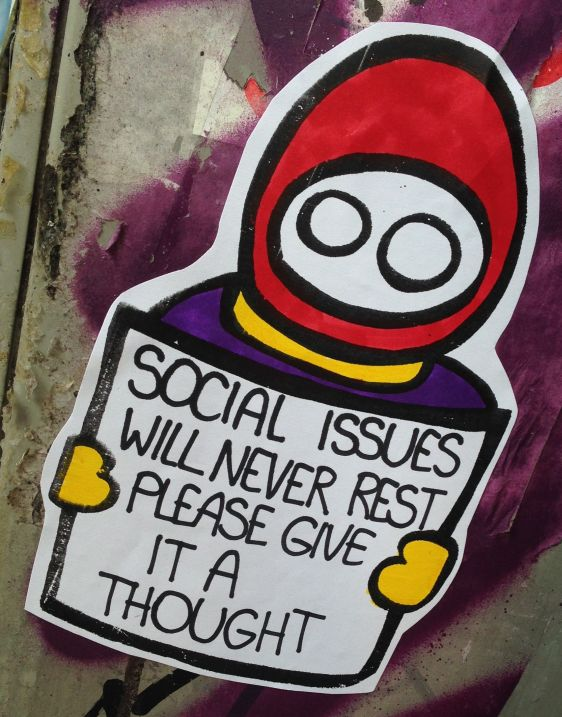 sticker LN social issues never rest please give thought Amsterdam center 2014 April