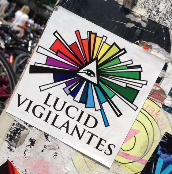 sticker Lucid vigilantes 2014 May Amsterdam Center crime