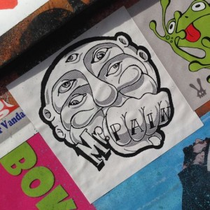 sticker Mr Pain Amsterdam east 2014 April face fist