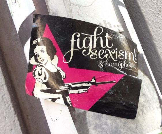 sticker Slovakia fight sexism homophobia 2014 April Boeke Biswane