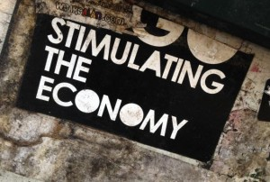 sticker Stimulating the economy 2014 May Amsterdam center