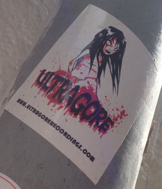 sticker Ultragore recordings Spuistraat Amsterdam 2014 April girl blood horror