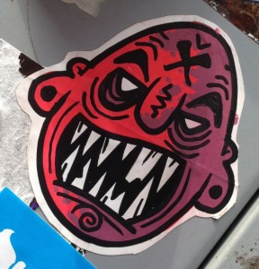 sticker angry face Amsterdam CS 2014 April
