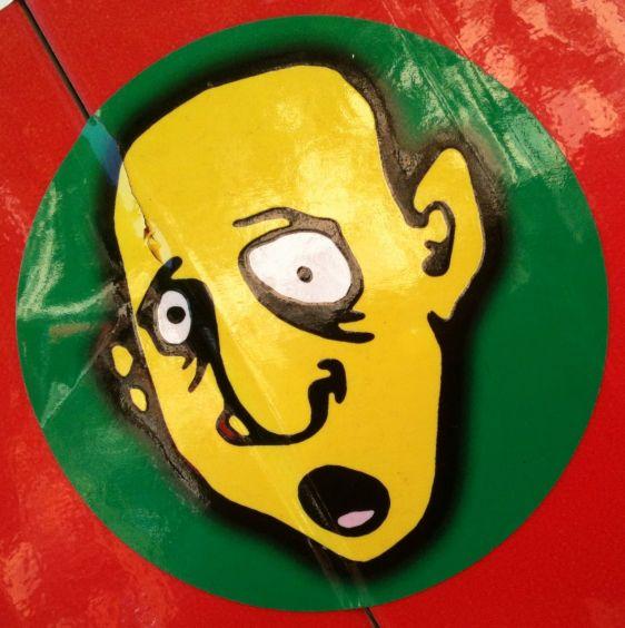 sticker face man yellow Amsterdam 2012 July