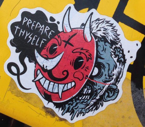 sticker prepare thyself Amsterdam east 2014 April devil mask