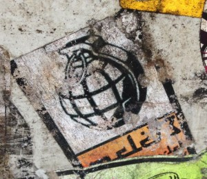 grenade sticker Arab 2014 May Amsterdam center terror weapon bomb