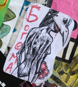 sticker Borema Spuistraat Amsterdam 2014 April bird-mask