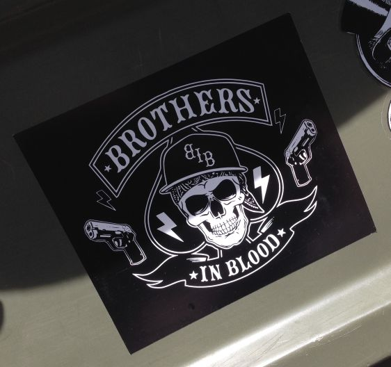 sticker Brothers in Blood BiB Amsterdam center 2014 May guns crime skull