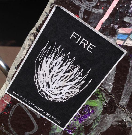 sticker Fire fashion of Christ 2014 May Amsterdam Center