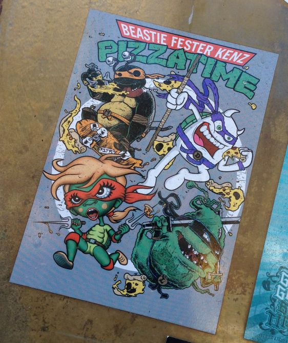 sticker Pizzatime Amsterdam center 2014 April Beastie Fester Kenz