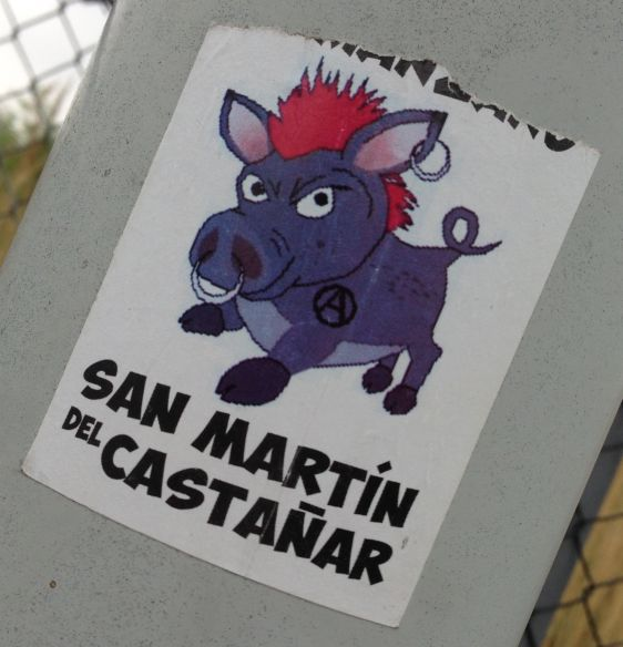 sticker San Martin del Castanar Amsterdam North 2014 April anarchy swine pig hog
