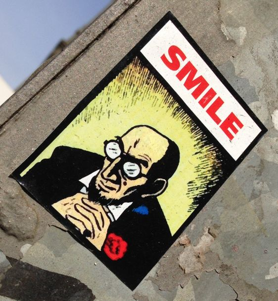 sticker Smile Amsterdam east 2014 April man face beard glasses