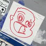 sticker face boy child fear Amsterdam 2013 july