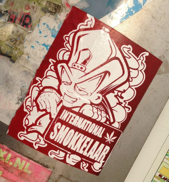 sticker international smokkelaar Amsterdam South 2014 May cannabis drugs