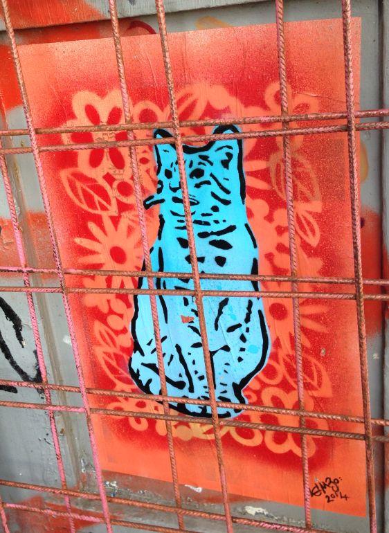 Lembo stencil cat Spuistraat Amsterdam 2014 June