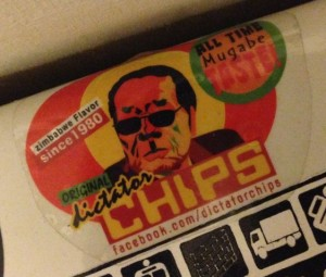 Mugabe sticker Original Dictator Chips since 1980 Amsterdam 2014 June Zimbabwe