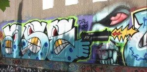 graffiti 2014 June Arnhem gun pistol joint 'Dal 2010'