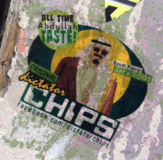 sticker Abdulah taste Saudi flavor Spui Amsterdam 2014 June Dictator Chips