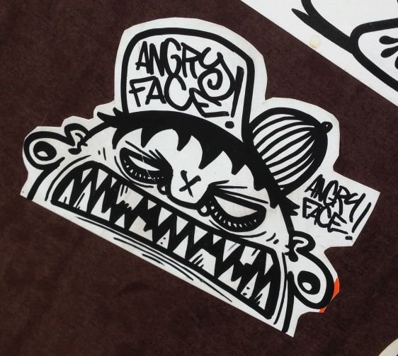 sticker Angry Face Amsterdam CS 2014 April hat