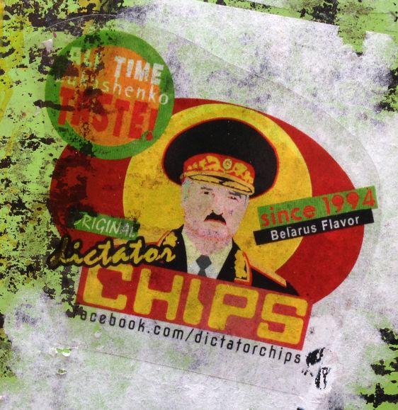 sticker Belarus Lukashenko flavor Spui Amsterdam 2014 June Dictator Chips
