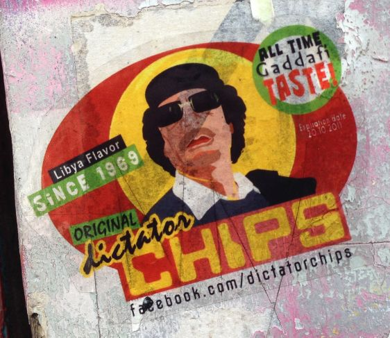 sticker Gaddafi taste Libya flavor Spui Amsterdam 2014 June Dictator Chips
