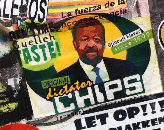 sticker Guelleh Djibouti flavor Spui Amsterdam 2014 June Dictator Chips