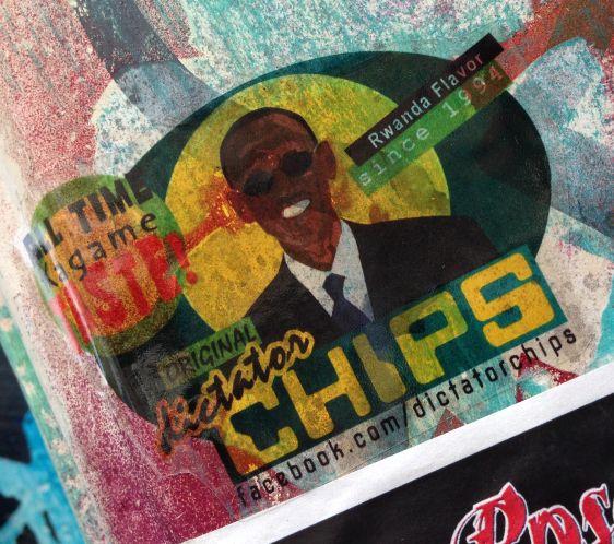 sticker Kagame taste Rwanda flavor Spui Amsterdam 2014 June Dictator Chips