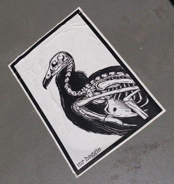 sticker Mr Heggie Amsterdam North 2014 June bird skeleton