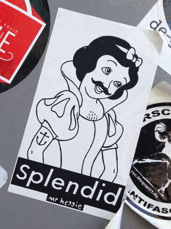 sticker Mr Heggie Spuistraat Amsterdam 2014 June Cinderella moustache tattoo splendid