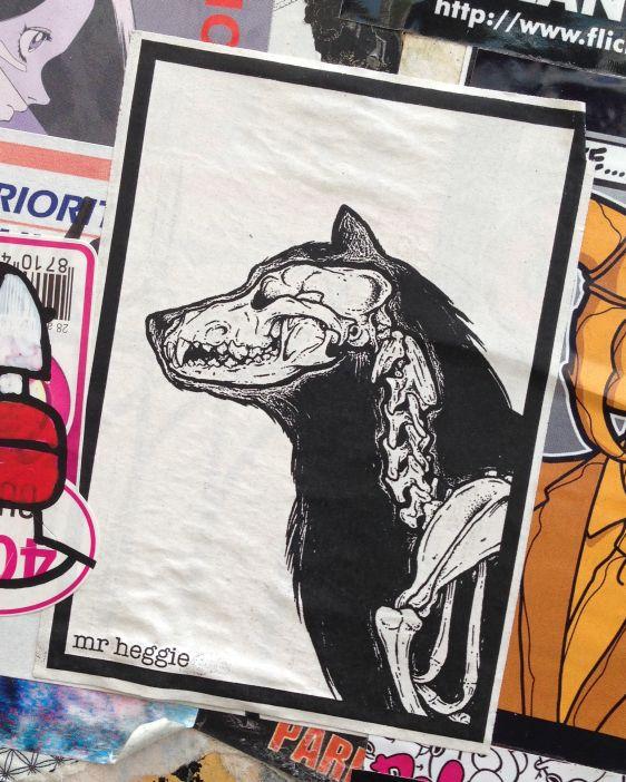 sticker Mr Heggie Spuistraat Amsterdam 2014 June wolf skeleton