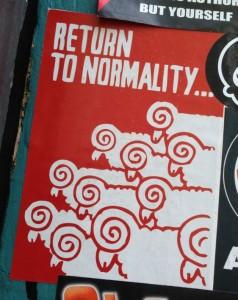 sticker Return to normality Spuistraat Amsterdam 2014 June sheep