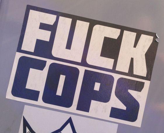 sticker fuck cops Amsterdam center 2014 May police