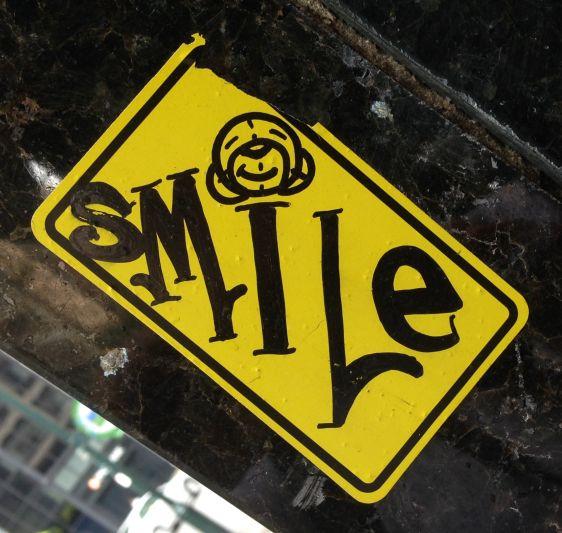 Mr Bear sticker smile 2014 July Philadelphia street-art